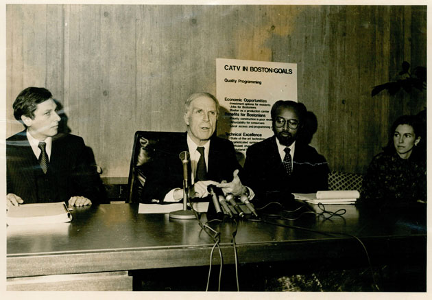 Pictured left to right: Rick Borten, Mayor Kevin White, Charles Beard, Micho Spring
